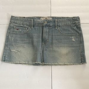 NEW-Blue Striped HOLLISTER Denim Short Skirt 9 w29